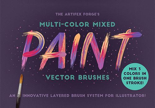 多色混合油漆Ai笔刷 Multi-color Mixed Paint Brushes