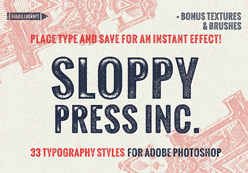 复古洗旧粗糙的边缘PS样式素材 Sloppy Press Inc