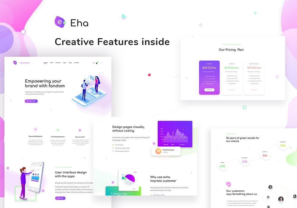 创意产品介绍登录页面网页PSD模板 Eha