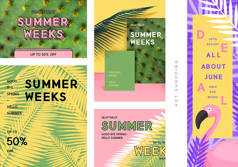 高质量夏季多尺寸促销活动横幅打包下载