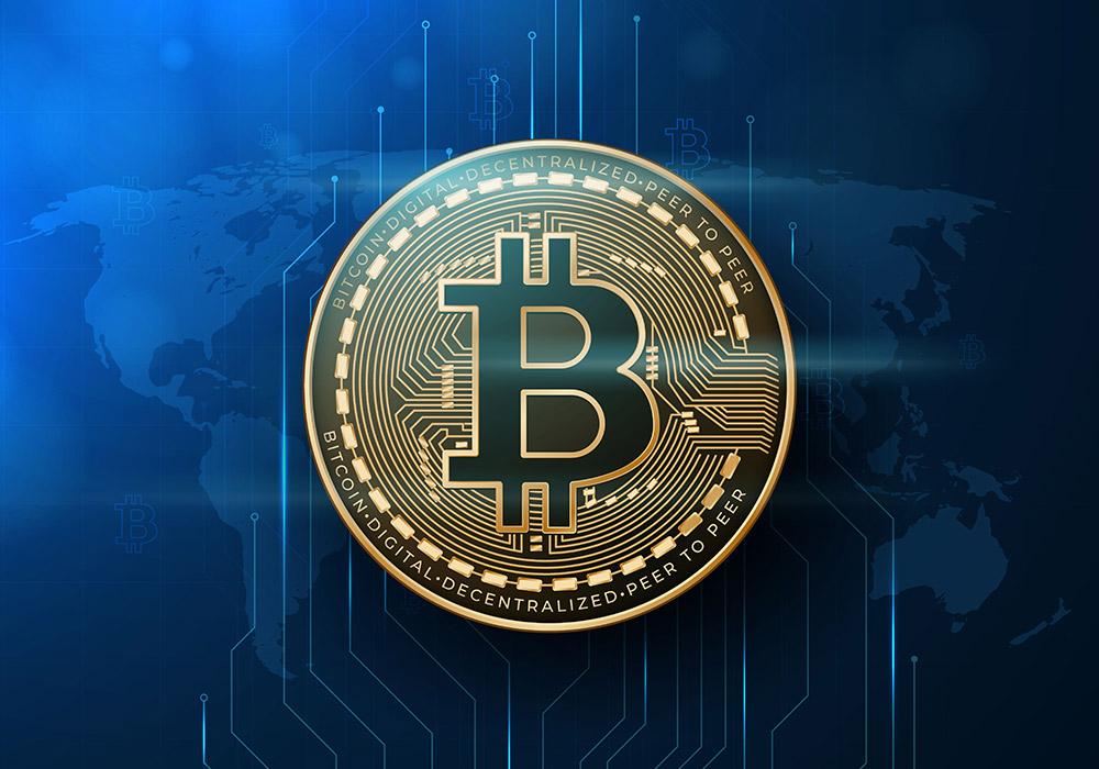 数字货币比特币区块链元素的背景矢量素材