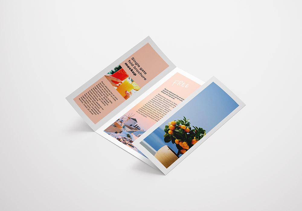 宣传手册小册子3折页智能贴图样机PSD模板