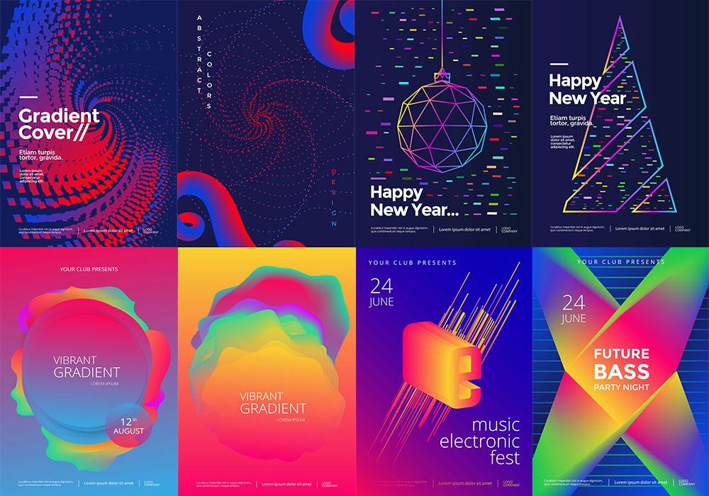 抽象科技线条音乐节流线彩色渐变电影海报背景排版设计矢量素材