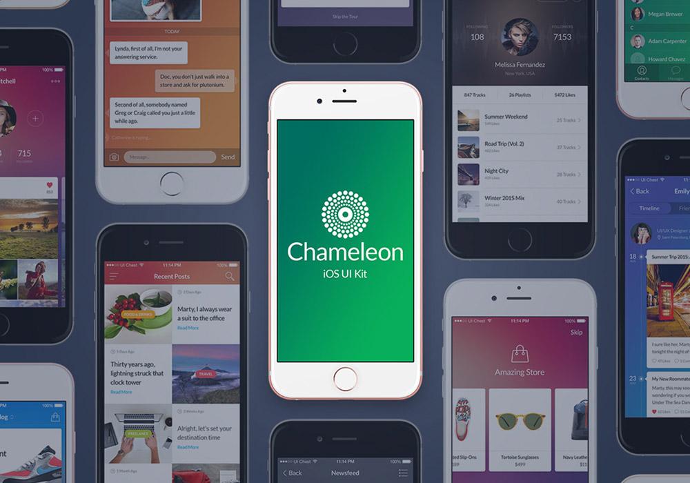 清新时尚多功能应用程序界面模版 Chameleon UI Kit