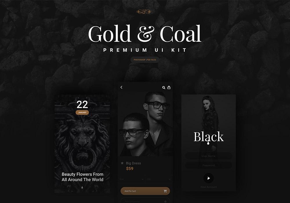 高端黑色电商社交音乐APP UI界面套件 Gold & Coal iOS UI Kit