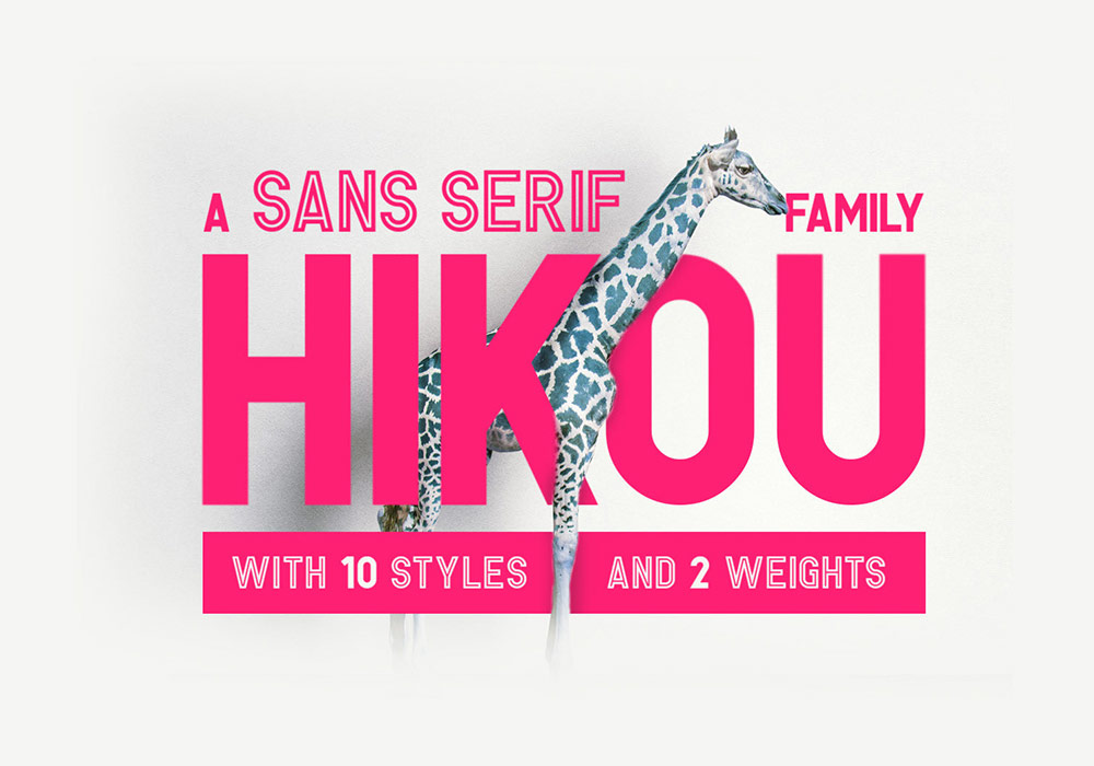 10种风格2种字体样式英文字体Hikou Font Family
