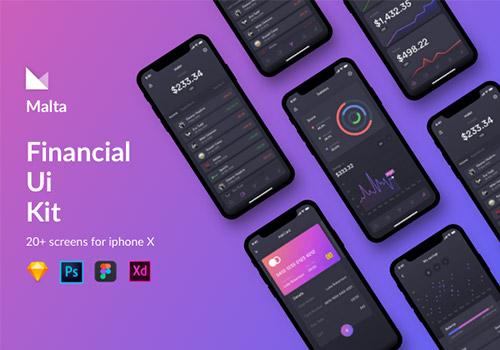 金融数据移动APP应用程序UI工具包Malta Financial UI Kit