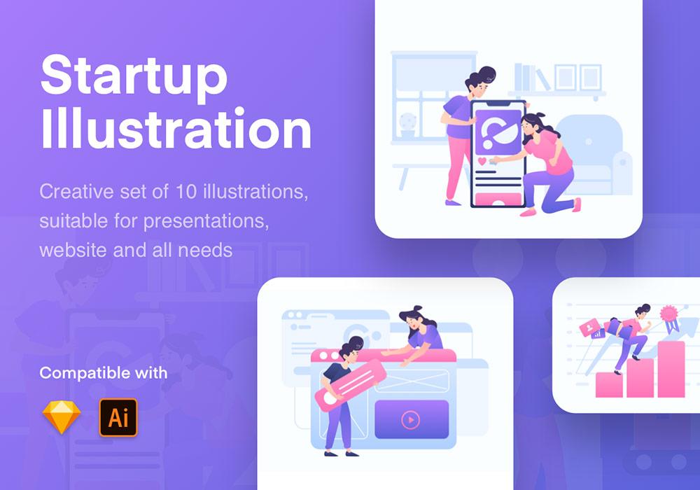 生活场景闪屏登录页面矢量插画素材 Start Up Illustration Kit