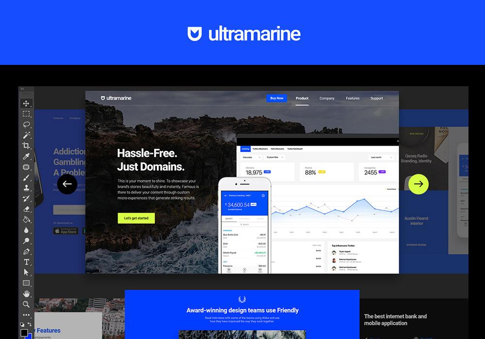 高端简洁企业电商资讯网页设计模板Ultramarine UI Kit