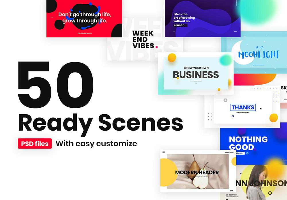50个流行风格的高端多用途banner海报着陆页模板 50 Ready Scenes