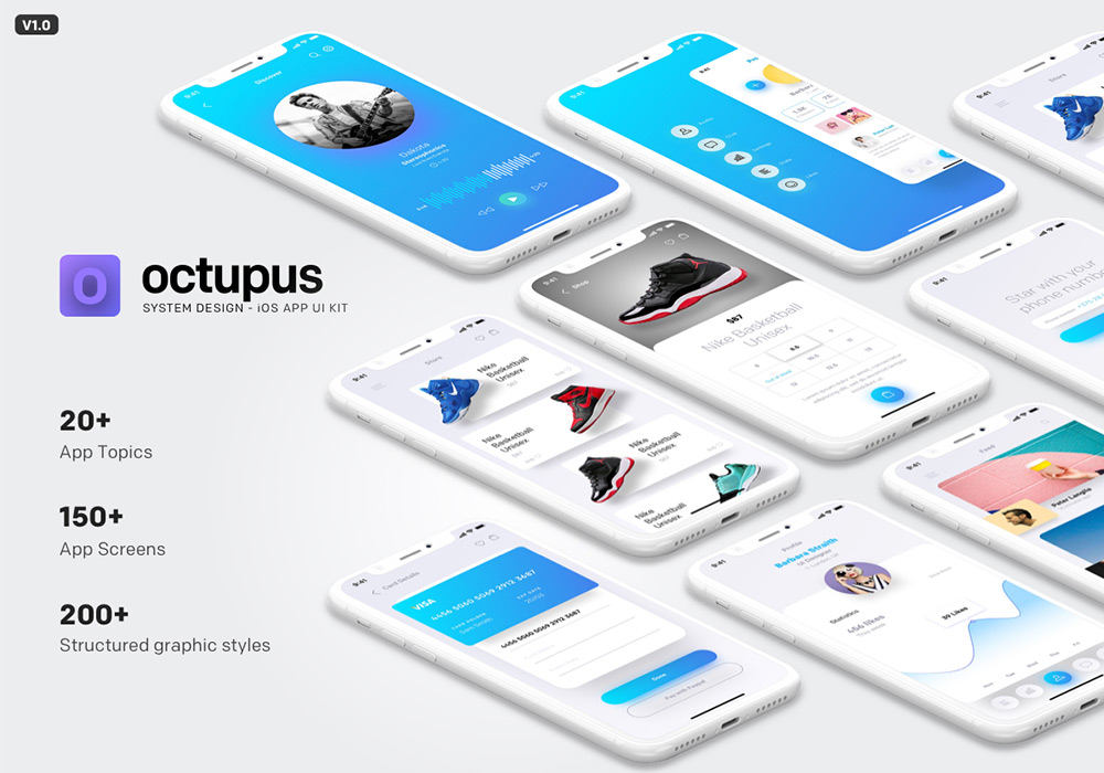 社交应用APP界面UI工具包 Octupus iOS App UI Kit
