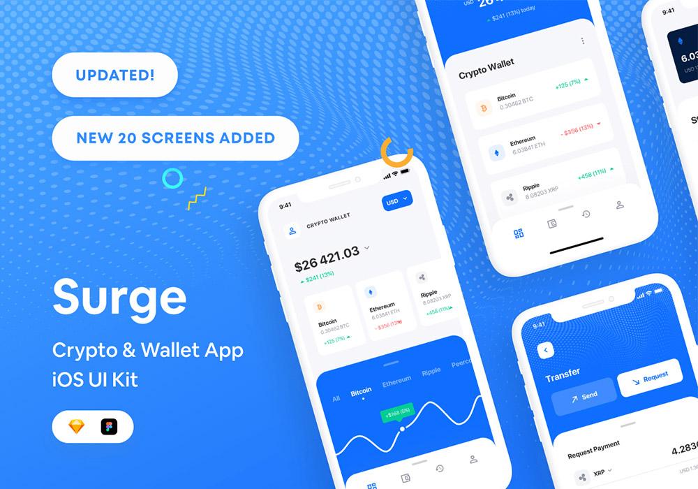 加密货币和金融钱包应用 iOS UI工具包 Surge iOS UI Kit