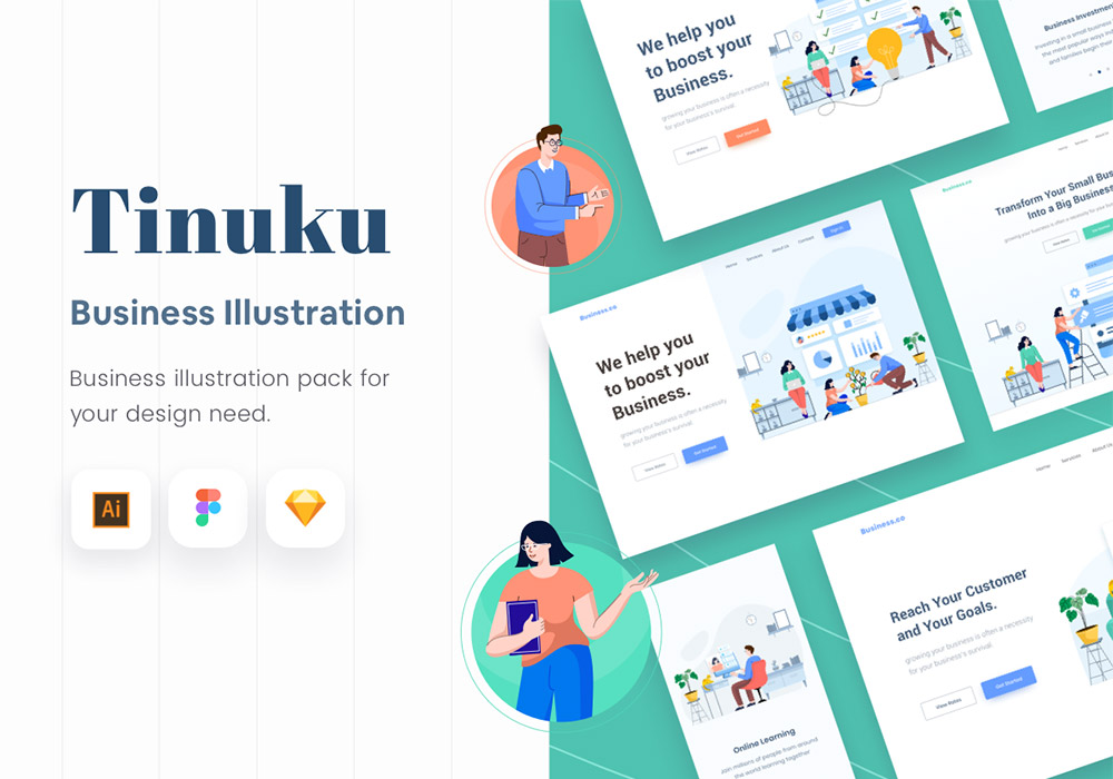 网站启动商业插画 Tinuku Start up Website Business Illustration