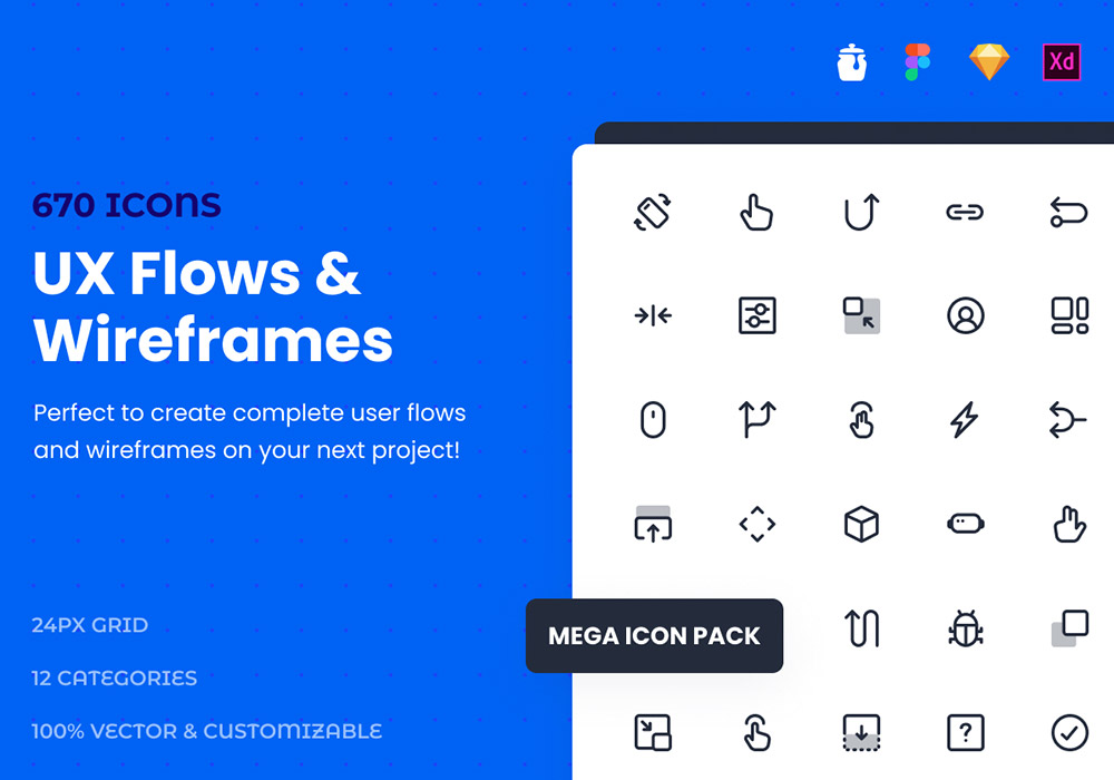 670+高端线性图标集合 UX Flows&Wireframes Mega Icon Pack