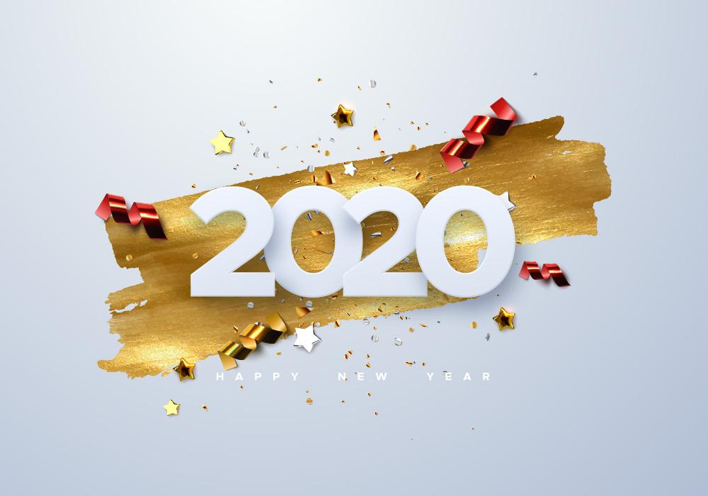 20个2020新年节日矢量文字打包下载