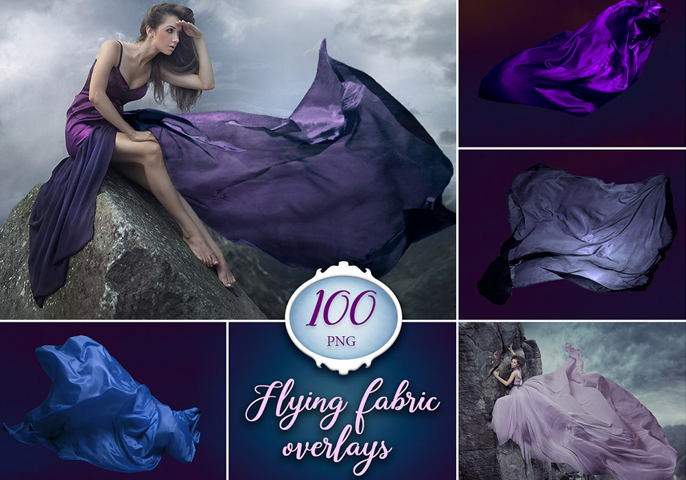 100张丝绸织物照片PNG透明素材 Flying Fabric Photo Overlays