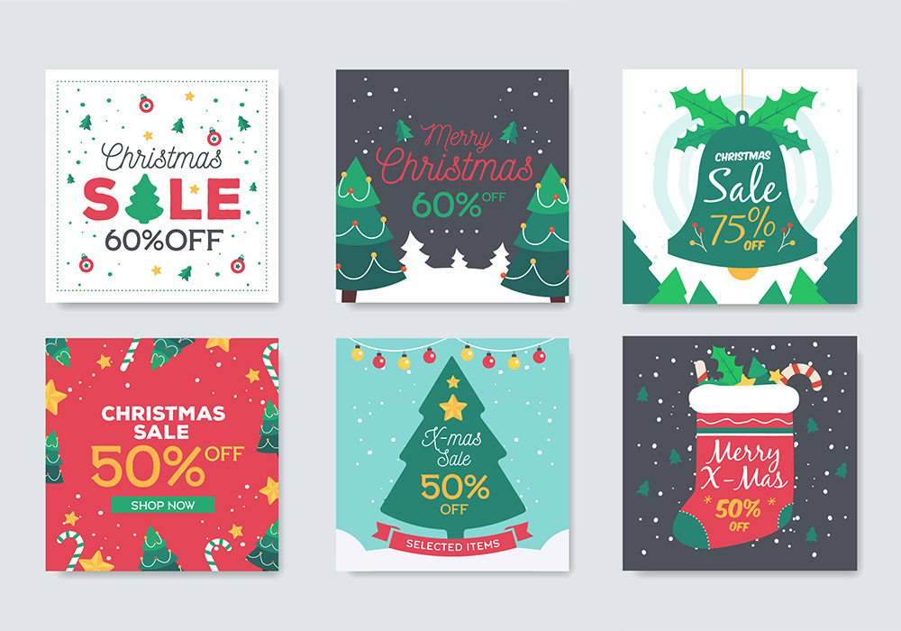 圣诞销售和折扣横幅海报 Christmas Sales And Discounts Banners
