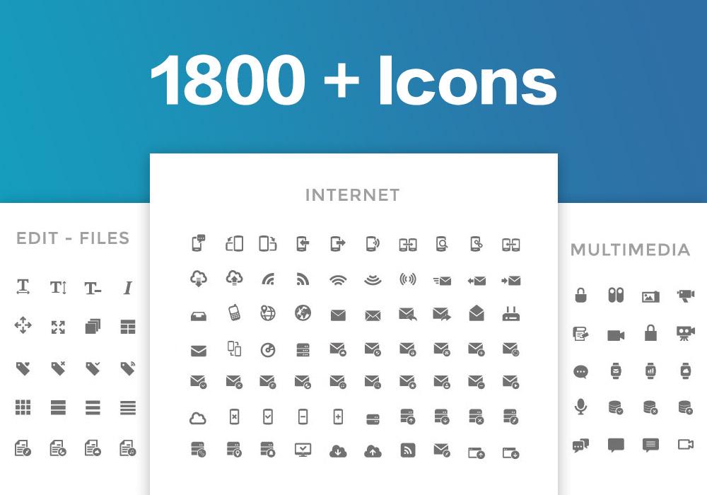 1800个黑白线性艺术图标集 Line Art Icons Set