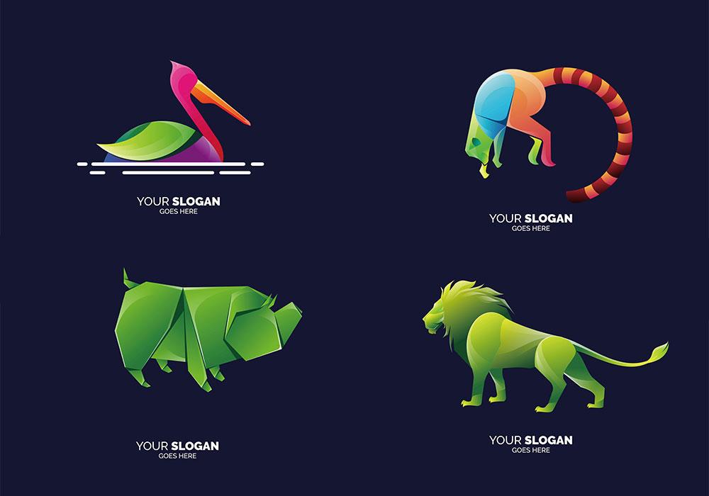34个现代动物徽标矢量LOGO集合