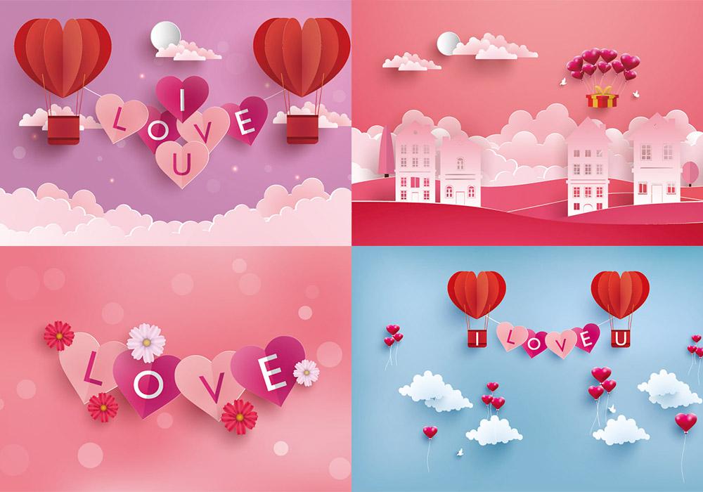 35款浪漫情人节3D剪纸效果矢量素材合集