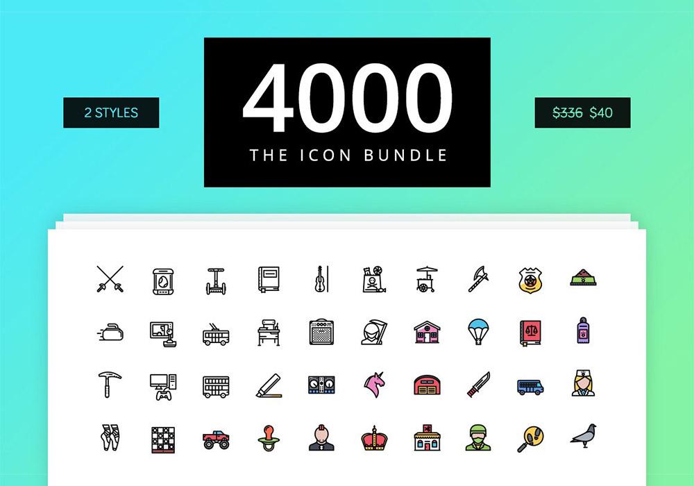 36类别4000个矢量图标集(2000个轮廓和2000个彩色)