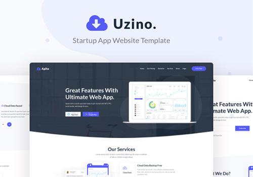 高级应用程序启动PSD网页模板 Uzino