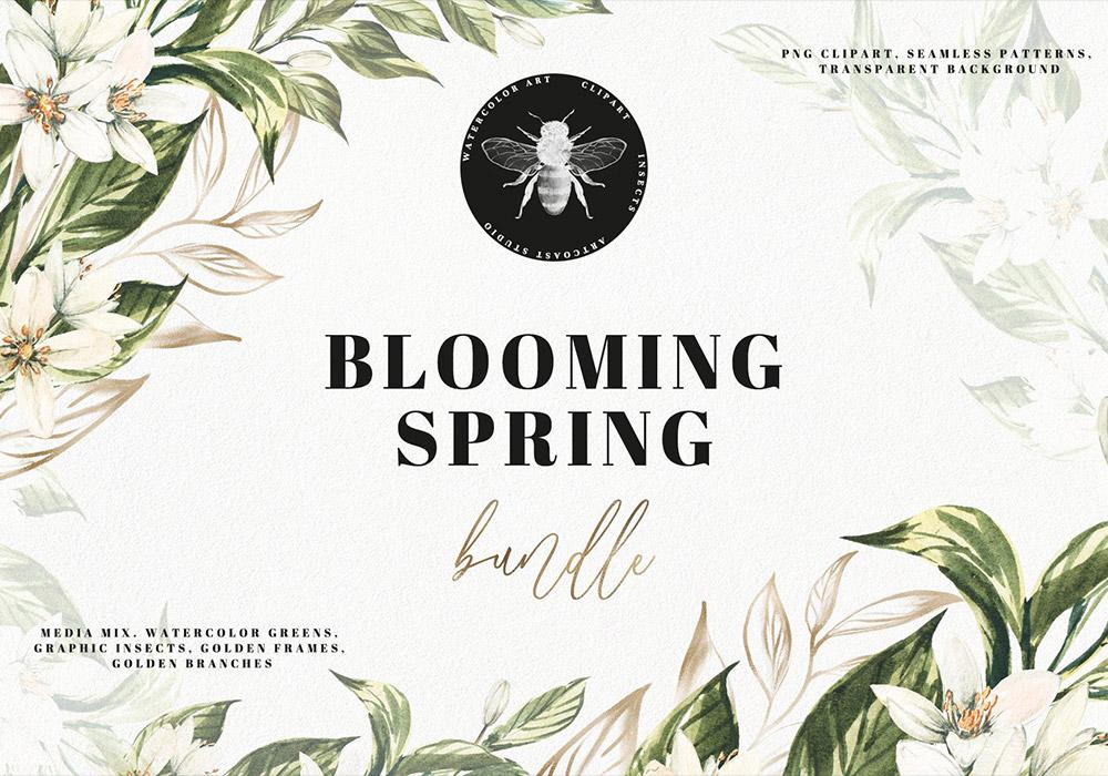 春天水彩鲜花PNG设计元素 Watercolor Blooming Spring
