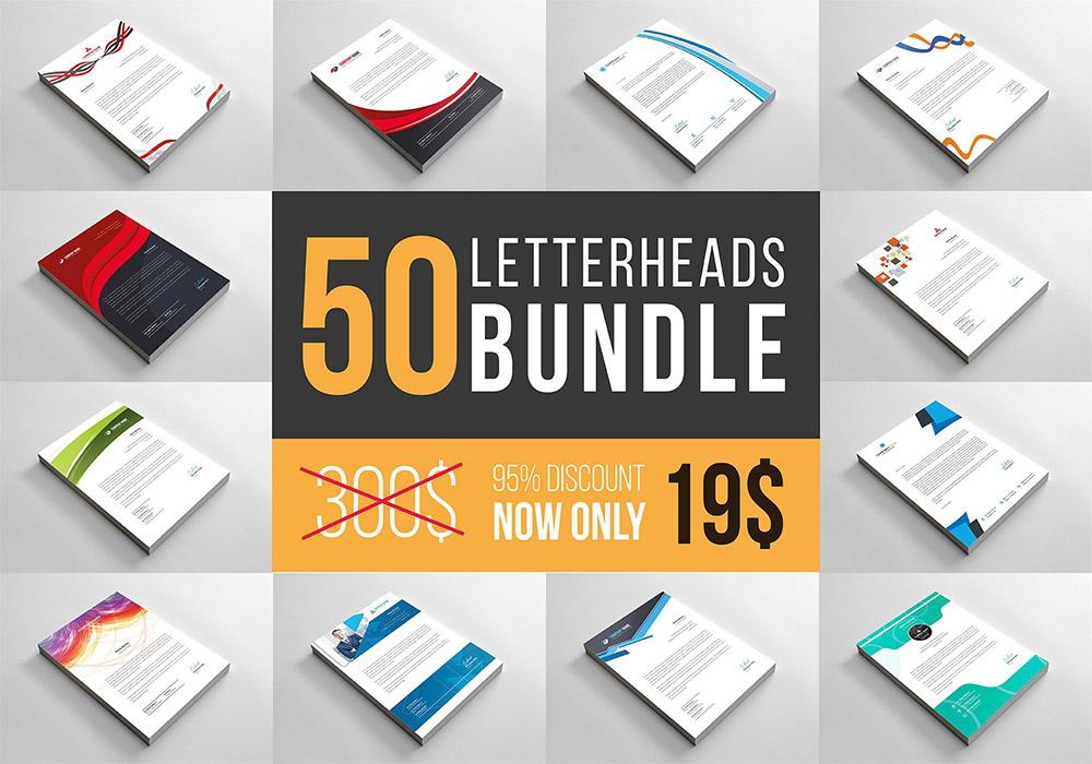 高端专业信笺平面素材集合 Letterheads Big Bundle