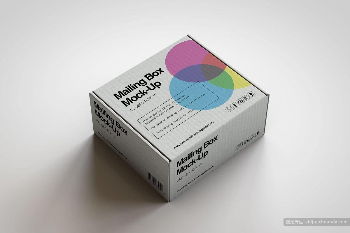 快递纸盒包装样机模板 Mailing | Shipping Box Mockup