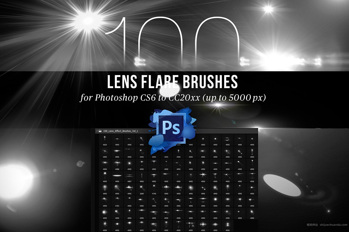 100个镜头光晕效果笔刷 Lens Effect Brushes
