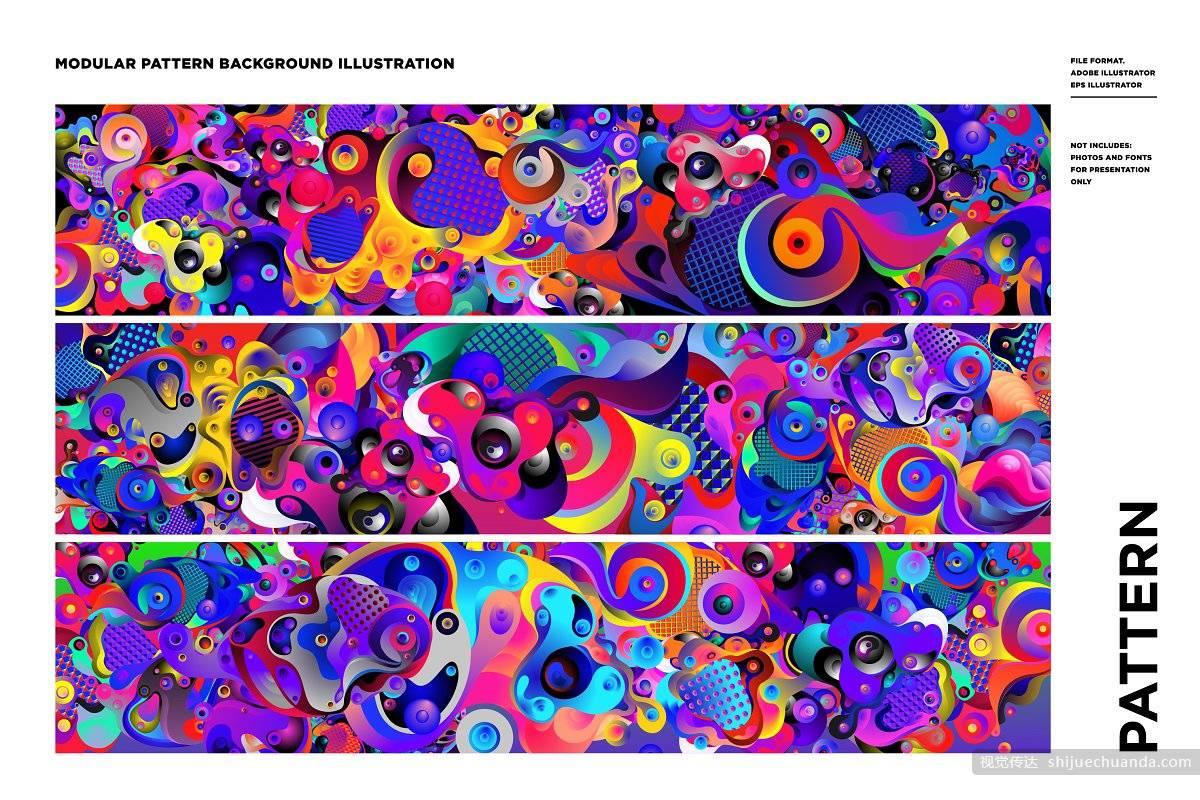 100个卡通矢量平面设计素材 Cartoon Modular Pattern Illustration