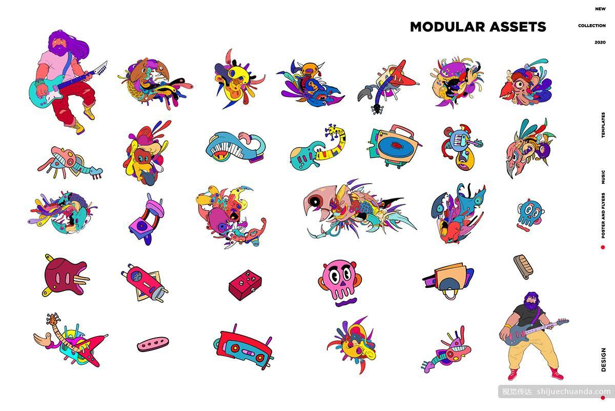 15张音乐节元素涂鸦海报平面素材 Doodle Music Illustration