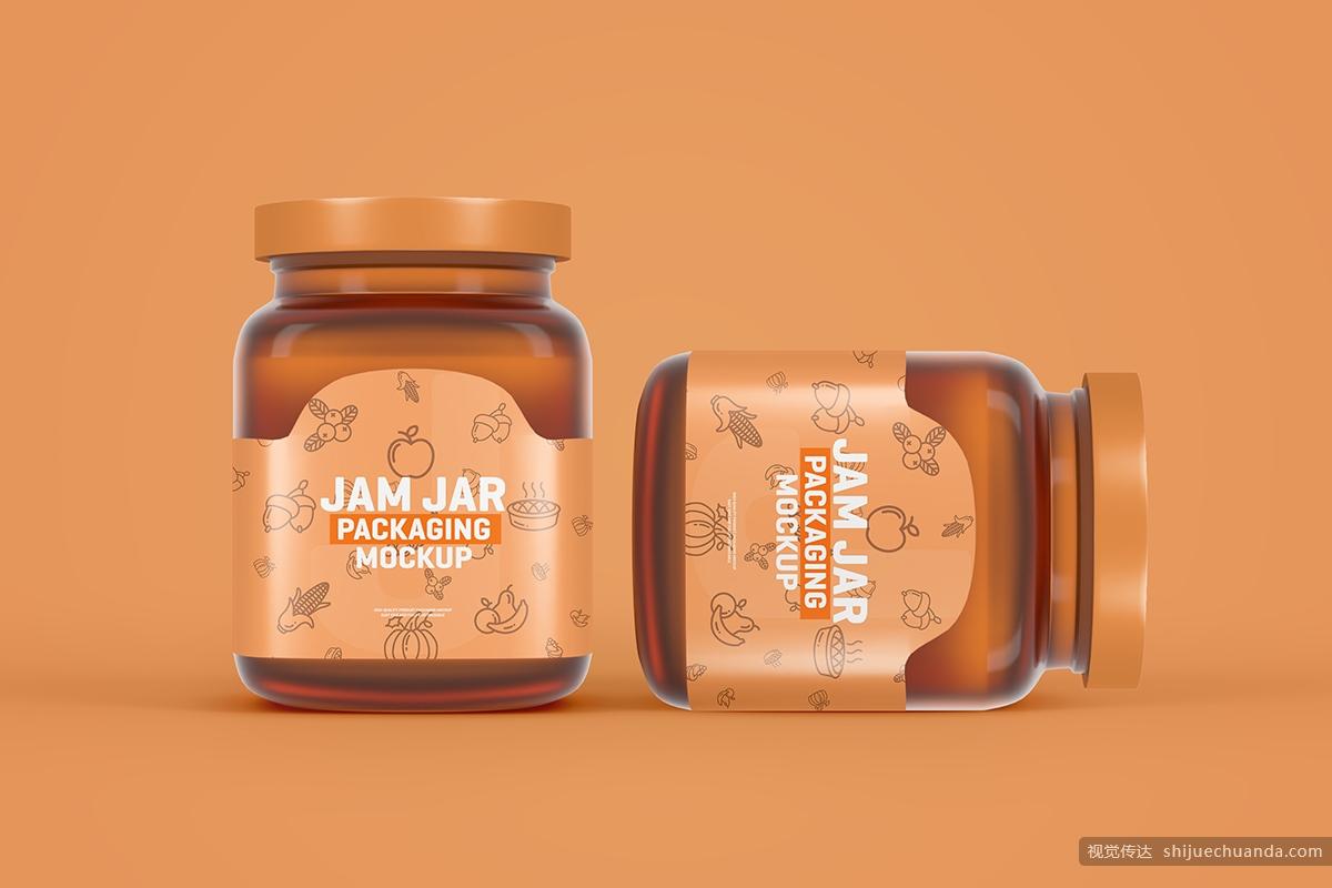 玻璃果酱罐包装样机 Glass Jam Jar Packaging Mockup