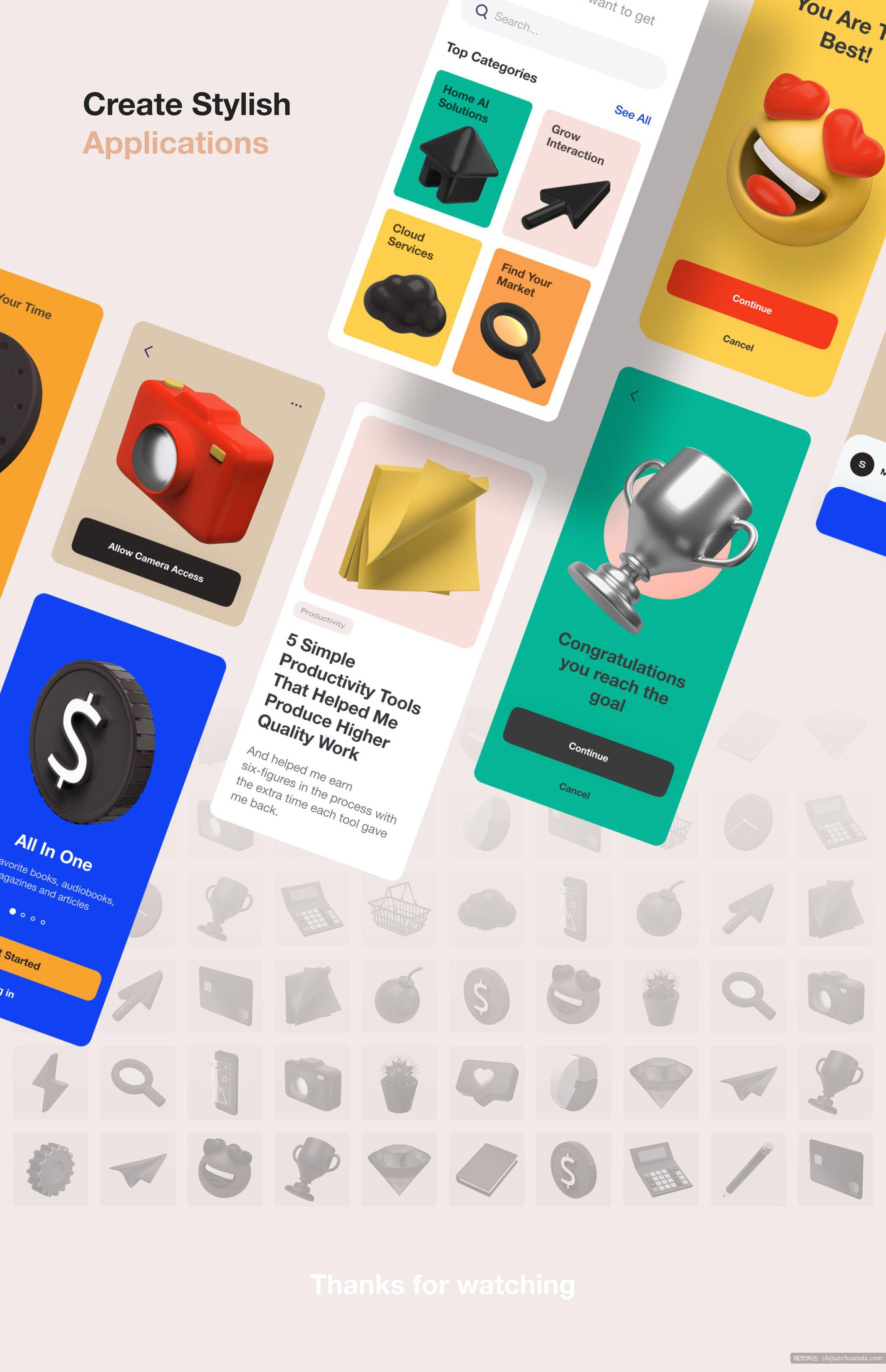 30个易于自定义的3D立体图标集 3D Icons Pack