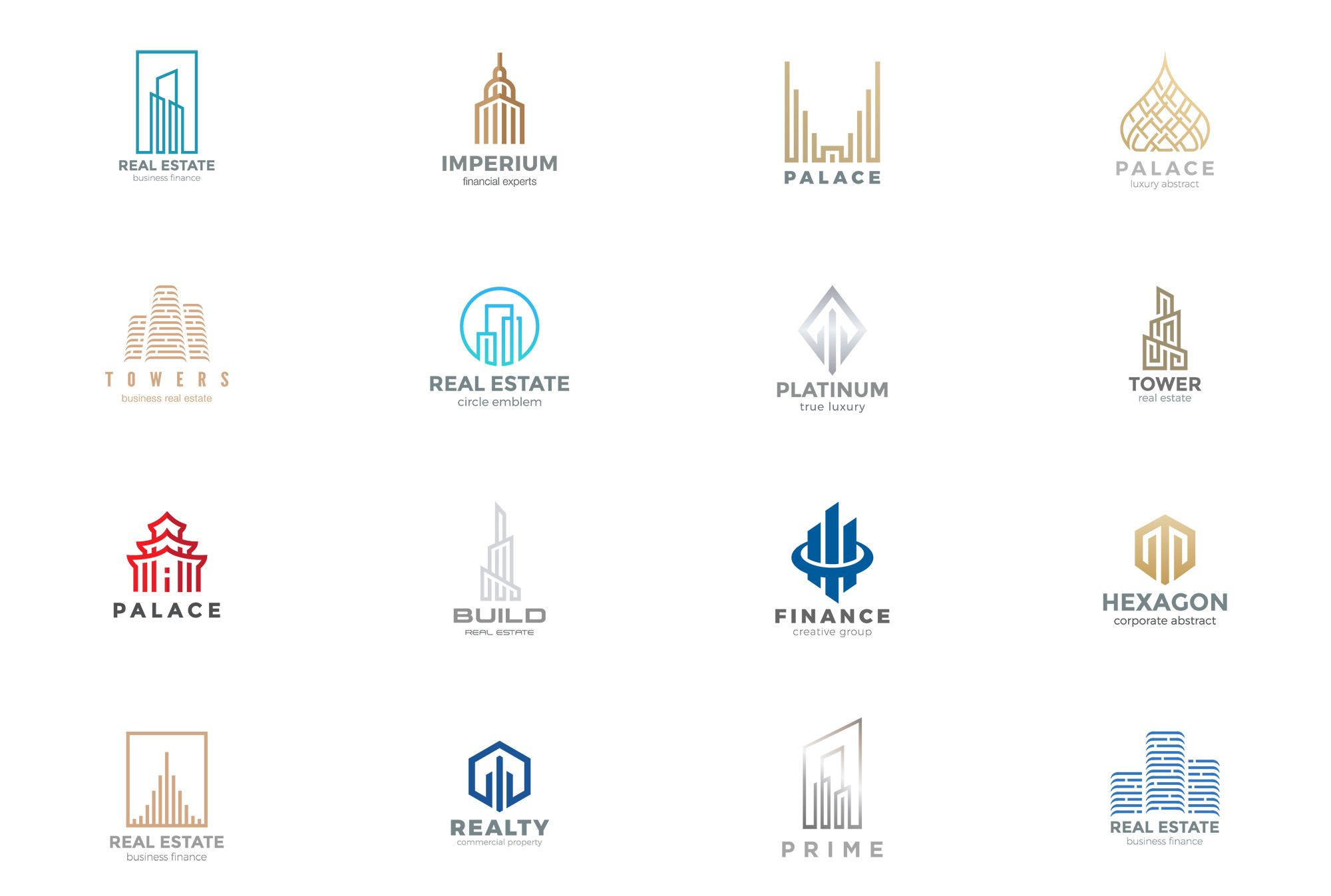 40个现代房地产金融徽标LOGO模板 Modern Real Estate Logos