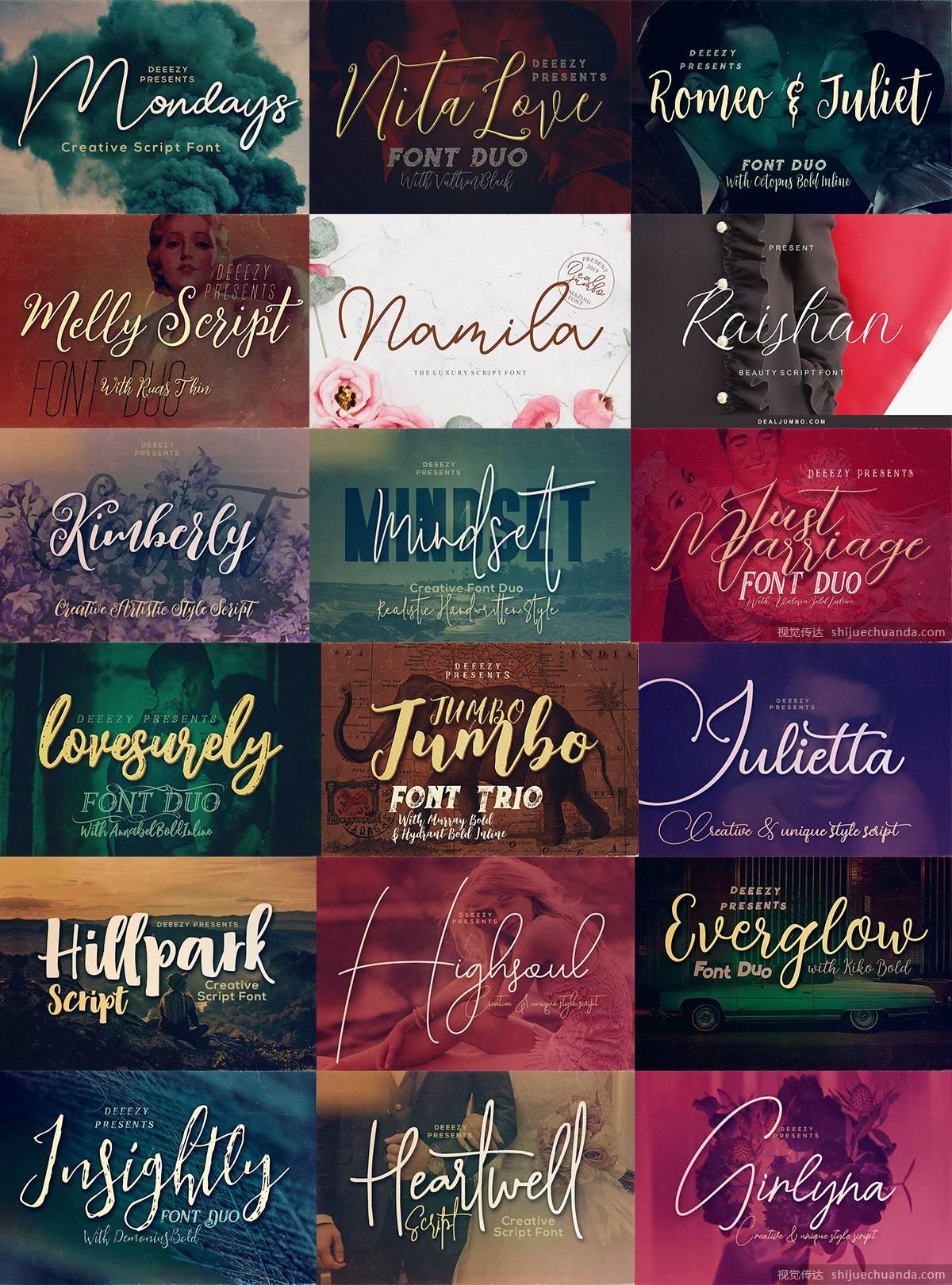 49种英文手写字体包 Script Fonts Bundle
