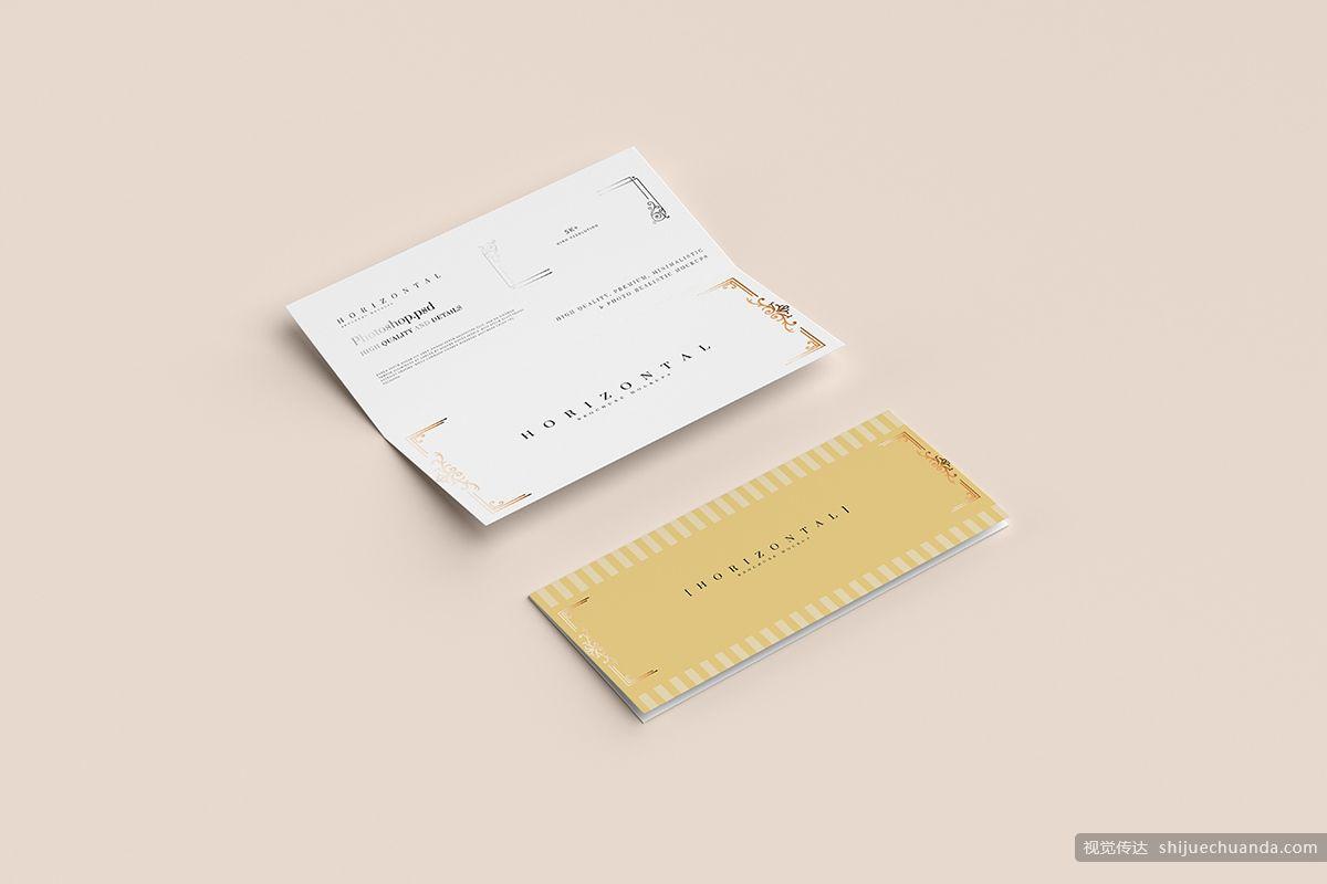 双向水平小册子卡片样机