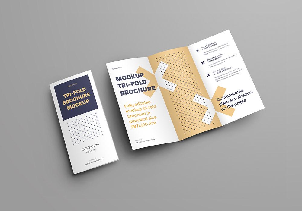 7个三折页小册子样机 Mockups Leafleat DL Trifold Brochure