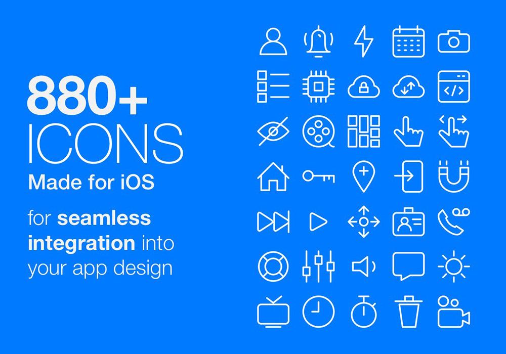 880+专为iOS设计的优质线性APP图标集
