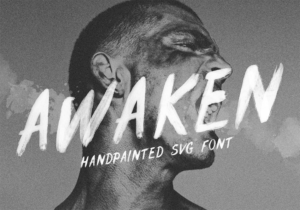 手绘英文笔刷字体 Awaken Font 下载