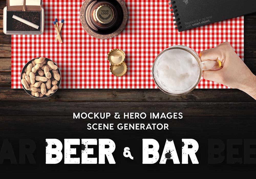 啤酒和酒吧品牌VI提案场景样机 Beer & Bar Mockup & Hero Images Scene Generator