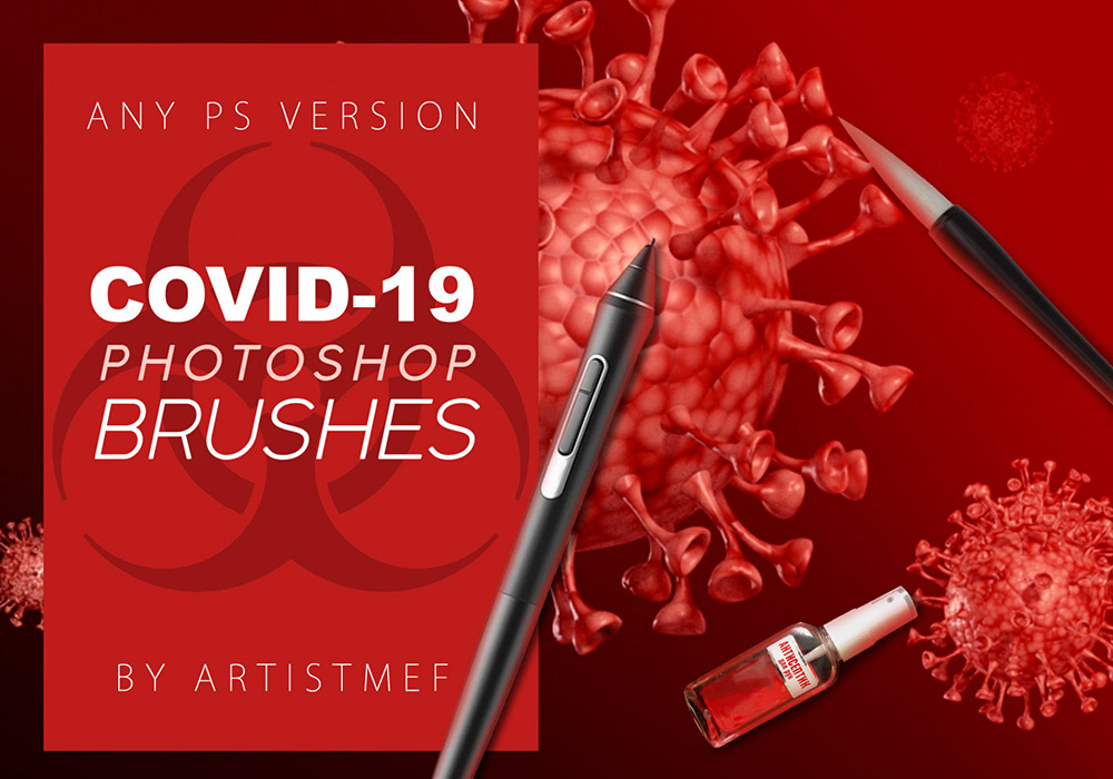 免费冠状病毒COVID-19 Photoshop笔刷