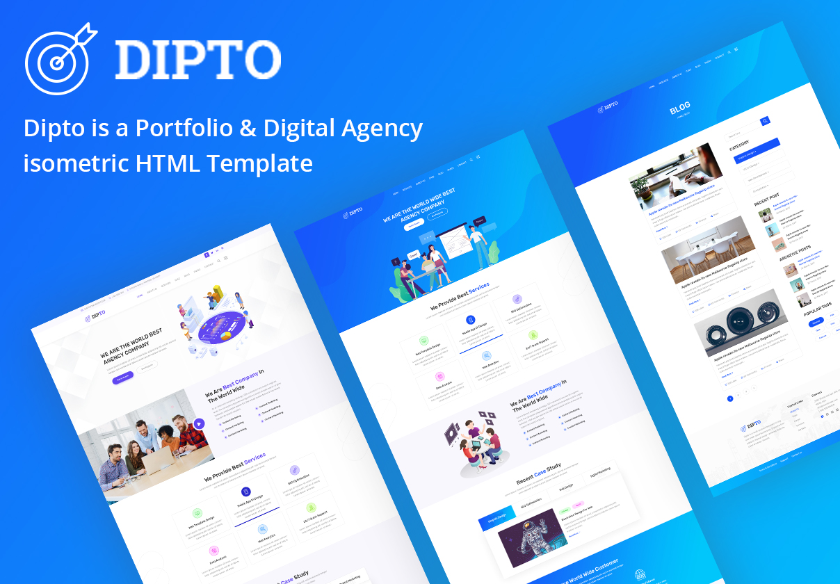 数字代理商登陆页面PSD模板 Dipto(含HTML模板)