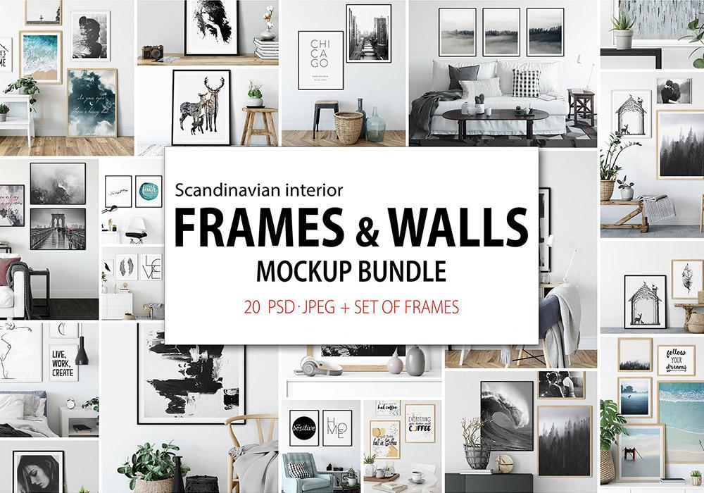 北欧风格墙壁和框架样机合集 Frames & Walls Scandinavian Bundle