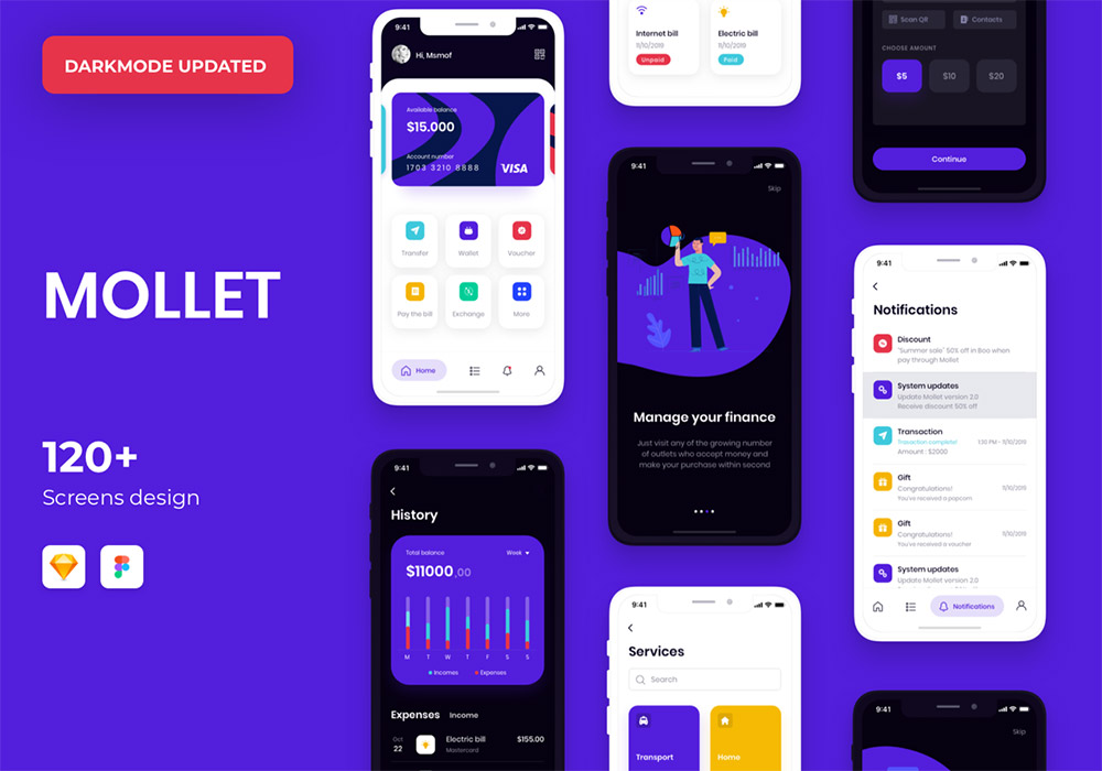 暗模式和亮模式钱包应用UI套件 MOLLET
