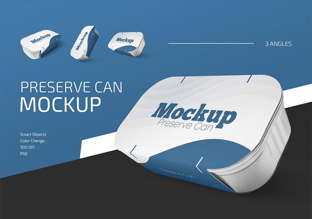 罐头包装盒样机模板 Preserve Can Mockup Set