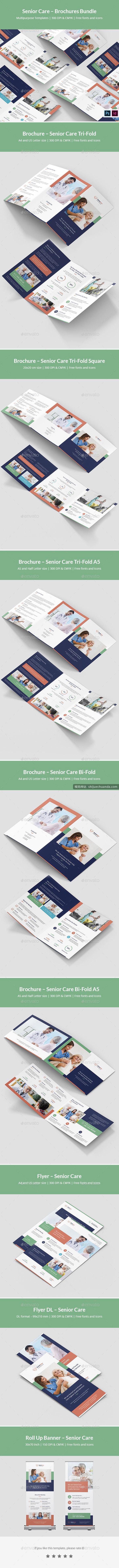 老年护理小册子平面设计模板 Senior Care Brochures Bundle Print Templates
