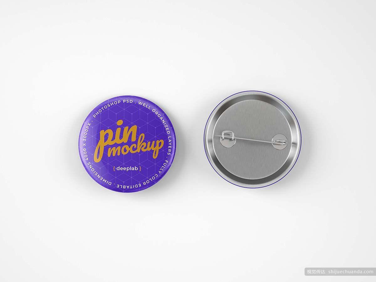 胸针徽章别针样机模板 Glossy Button Pin Mockup Set