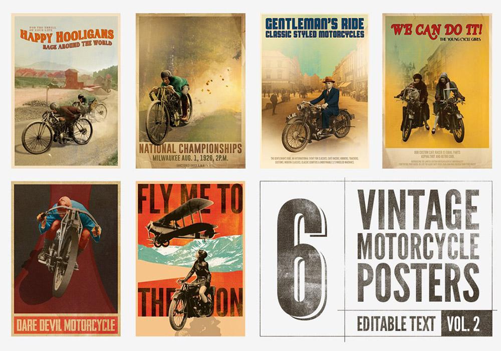 6张复古平面设计海报模板(文字可编辑,附字体)