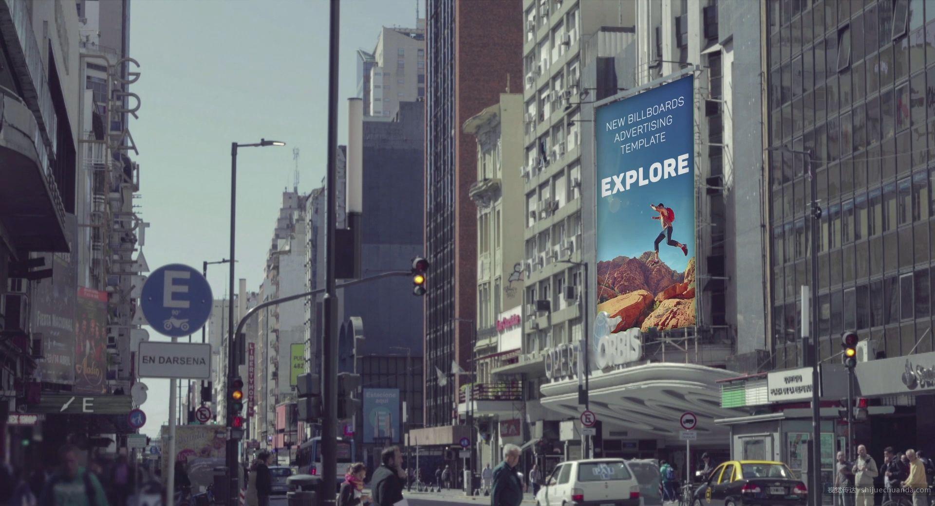 城市广告牌 After Effects 样机模板